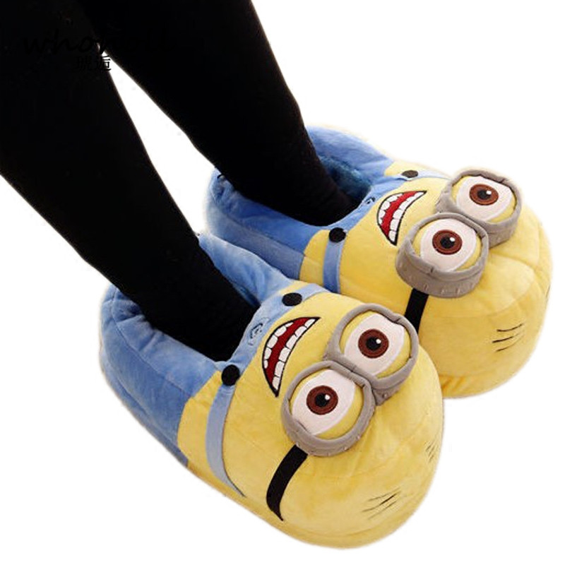 Winter Home Slipper Man Women Despicable Me Minions Slippers Plush Stuffed Funny Slippers Flock Indoor House Shoes Adult Cosplay