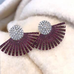 Image 3 - GODKI 40MM Ünlü Lüks Popüler Tam Ealobe düğme küpe Kadın Aksesuarları Için Tam Kübik Zirkon Küpe pendientes mujer moda