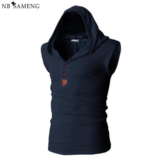 2017 nueva marca elástico sin mangas de la camisa ocasional de moda con capucha sin mangas de los hombres culturismo fitness clothing