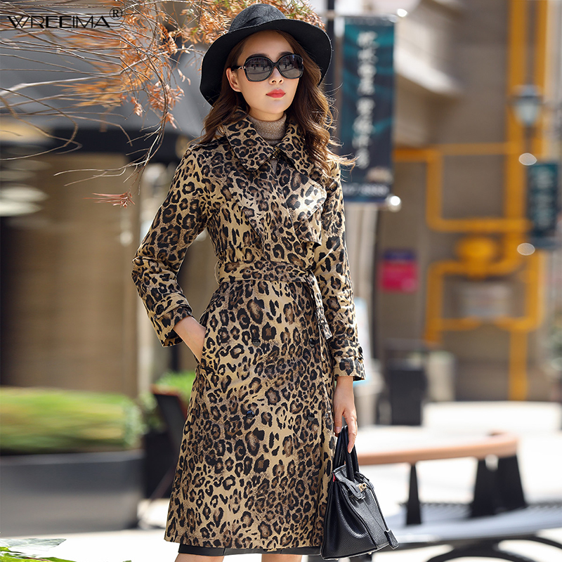 2018 Autumn Winter   Trench   Coat Women Waist Wide-waisted Solid Leopard Printed Coat Long   Trench   Female Outerwear Plus Size 3XL
