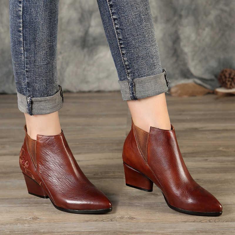 Nakış Çiçek Çizmeler Ayakkabı Kadın Yeni Retro Sivri Burun Ayak Bileği Bayan kısa çizmeler Yüksek Topuk Kadın Elastik Bant Chelsea Patik