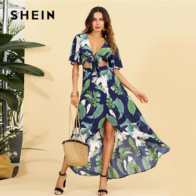 06f2a776ba SHEIN Open Midriff Knot Front Jungle Dress 2018 Summer Deep V Neck Short  Sleeve Tropical Dress
