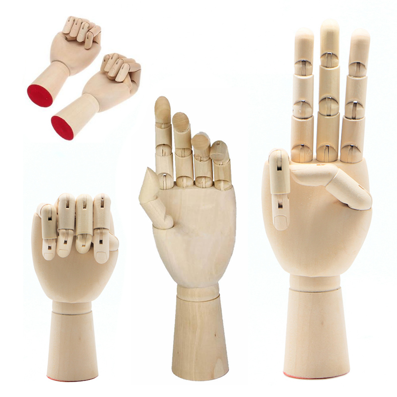 Left Right Hand Body Sketching Drawing Artist Model Jointed Articulated Wood Sculpture Fingers Movable Mannequin D14 new 2pcs female right left vivid foot mannequin jewerly display model art sketch