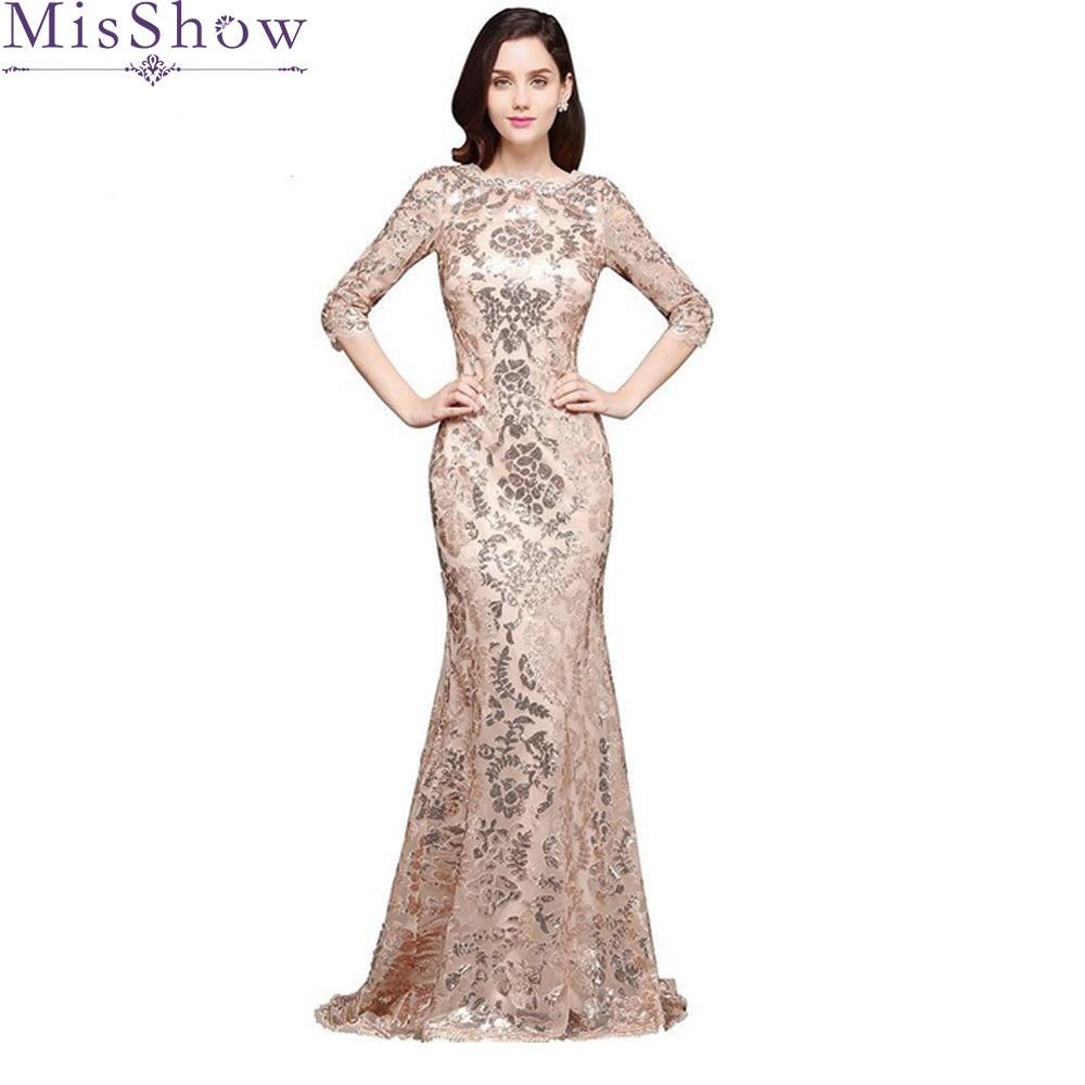 Robe de Soiree Sexy Womens Elegant Mermaid Gold Sequins Prom Dress Half Sleeve Evening Dress Rose