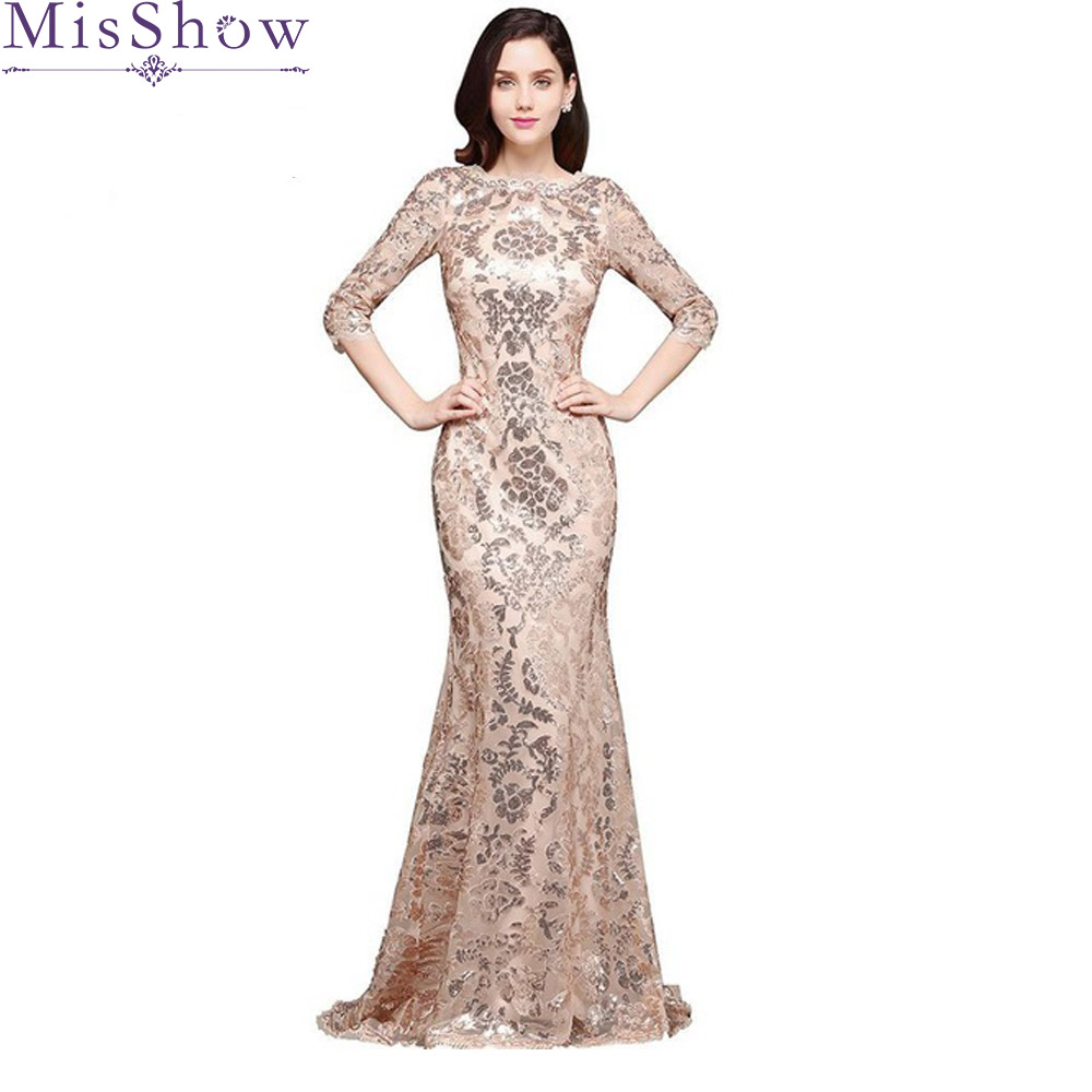 Robe de Soiree Sexy Womens Elegant Mermaid Gold Sequins Prom Dress Half Sleeve Evening Dress Rose Party Long Backless Prom Gown