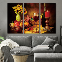 Wall art Picture print Wine Grape Fruit Canvas Painting Unframed Prints Retro Abstract Poster