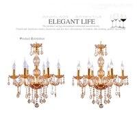 6 led lamps Modern crystal chandelier Cognac discount bedroom chandeliers luxury Baroque candleholder Children's hanging light