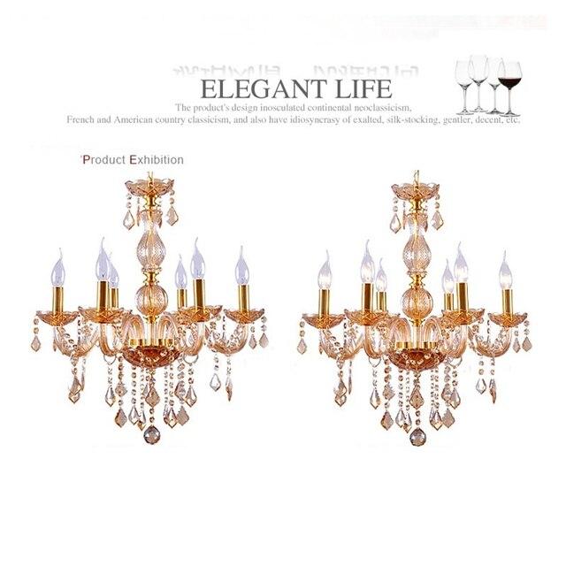 US $96.8 12% di SCONTO|6 lampade a led Moderno lampadario di cristallo  Cognac sconto lampadari camera da letto di lusso Per Bambini candeliere ...