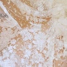 Vestido de novia de encaje blanco y marfil, tela de encaje suave con lentejuelas bordadas, Material DIY de 130cm de ancho, 1 yarda