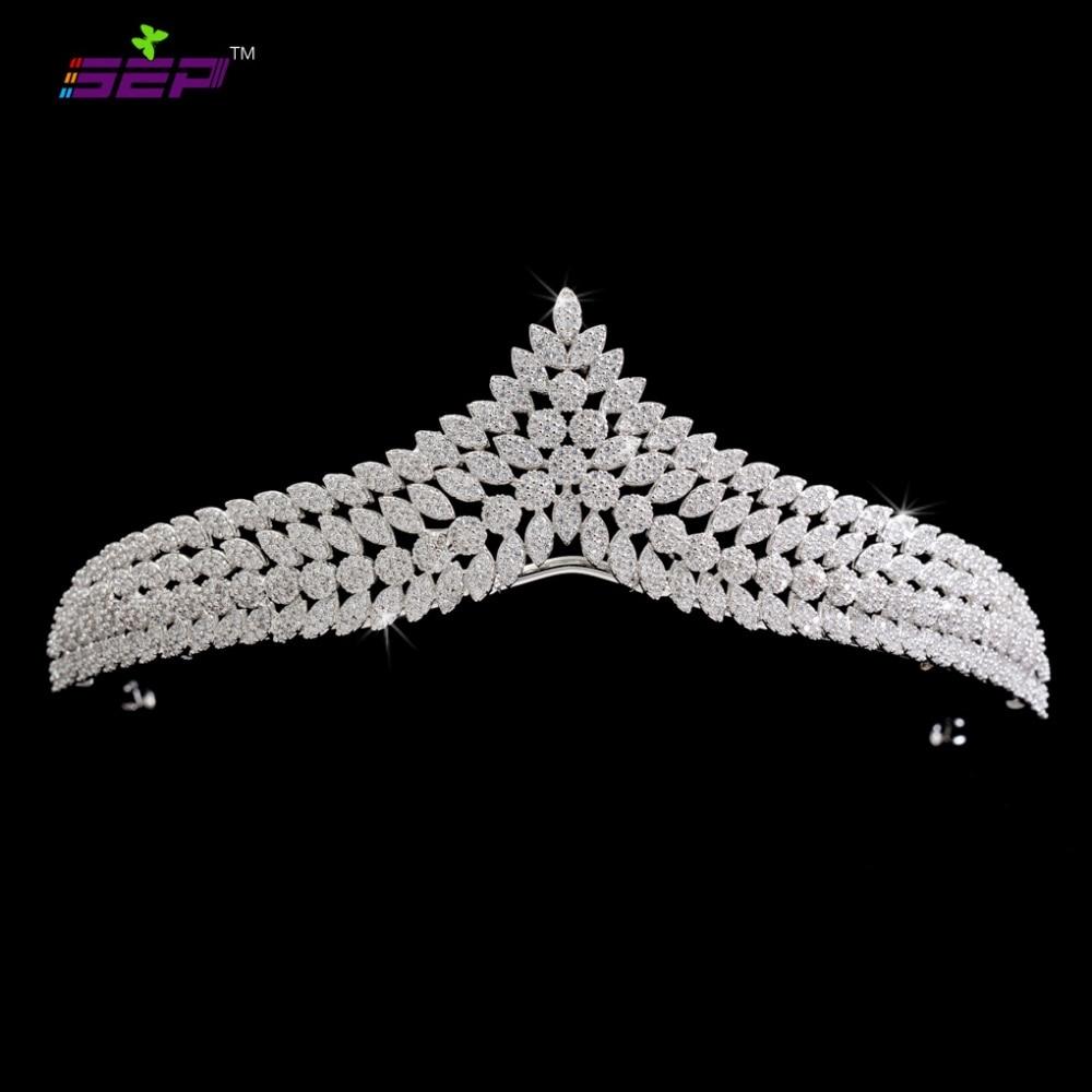 Full 5A CZ Cubic Zirconia Wedding Bride Leaves Tiara Crown Hair Jewelry Accessories Rhinestone Crystals Tiaras S16238