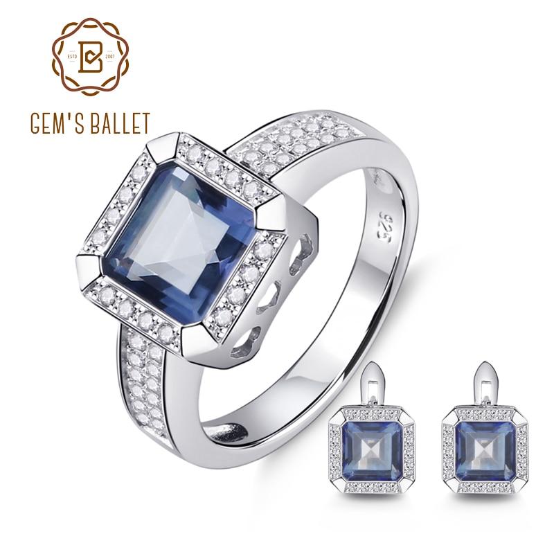 GEM S BALLET 5 97ct Natural Iolite Blue Mystic Quartz Gemstone Jewelry Set 925 Sterling Silver