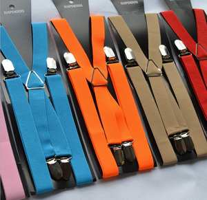 500pcs/lot 4 clip elastic adult suspender braces