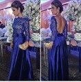 Encaje Azul Vestido de Noche Formal de Manga Larga Vestidos de fiesta 2016 Backless Atractivo Una Línea Tafetán Estilo Árabe de Noche Elegante vestido