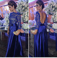 Lace Blue Formal Dress Evening Long Sleeve Vestidos de festa 2016 Sexy Backless A Line Taffeta Arabic Style Elegant Evening Gown