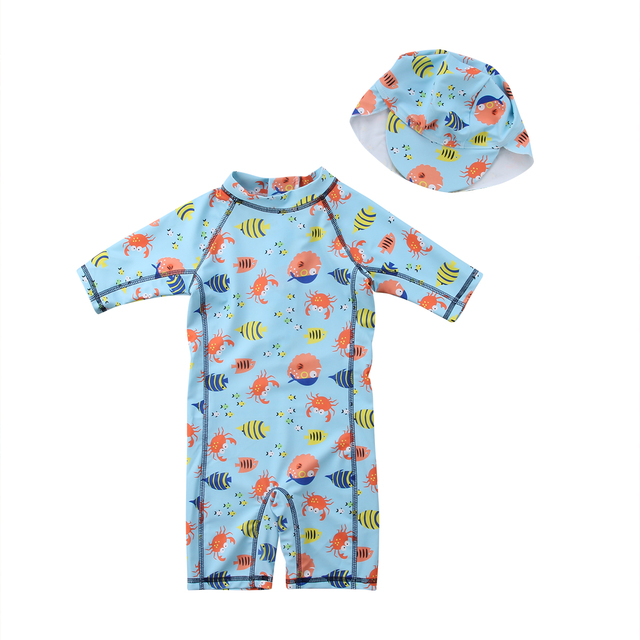 82638611bc Toddler Kids Baby Boy Girls Cartoon Rashguard Sun Protective Surf Beach  Swimsuit Hooded Swimwear Bathing Suit Girl Boy 1-6T