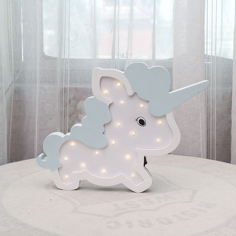 Nordic wind LED Unicorn style lamp children 39 s room creative decoration night light bedside lamp photo wall decoration props in Wind Chimes amp Hanging Decorations from Home amp Garden