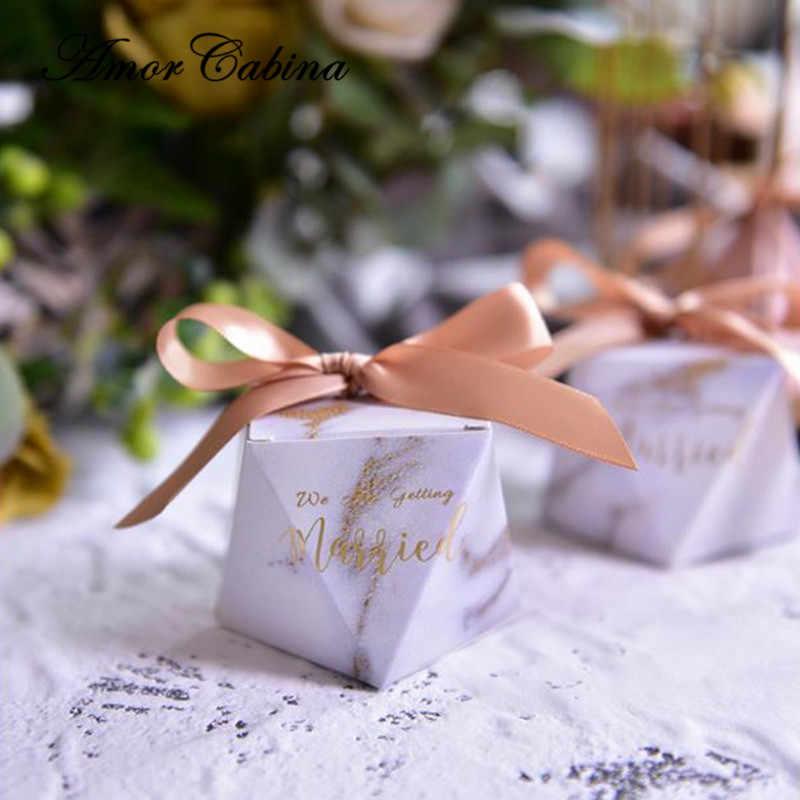 50pcs European small fresh pink / gold marble diamond style wedding like candy box party gift box chocolate box return gift box