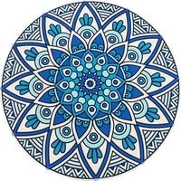 Retro Bohemia Style Blue Flower Geometric Pattern Carpet Non slip Living Room Bedroom Round Rug Home Decorator Floor Rug