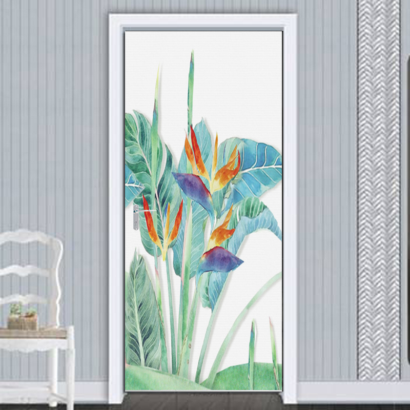 3D Wallpaper HD Hand-painted Banana Leaf Flowers And Birds Background Wall Decoration Door Stickers PVC Waterproof Mural Tapety