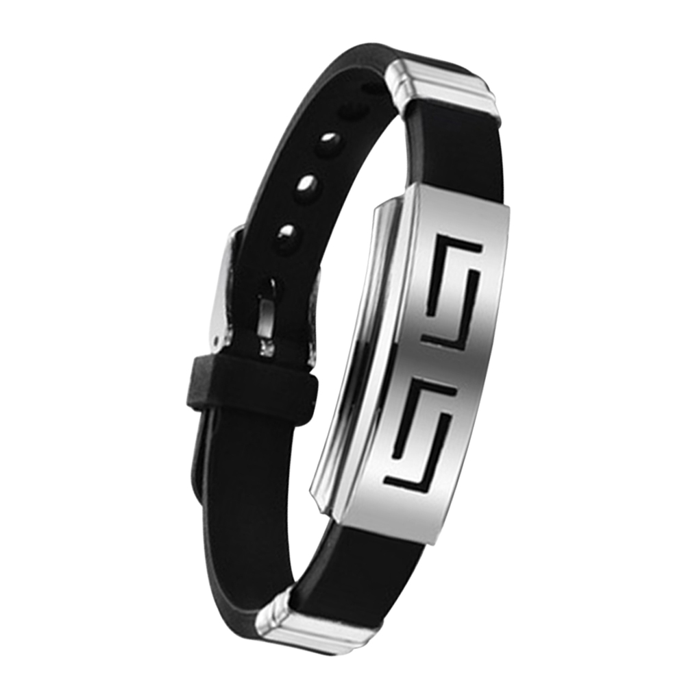 Punk Men Rubber Silicone Wristband Bracelet Stainless Steel Bangle Bracelets  Jewelry Gifts Kqs8(china (