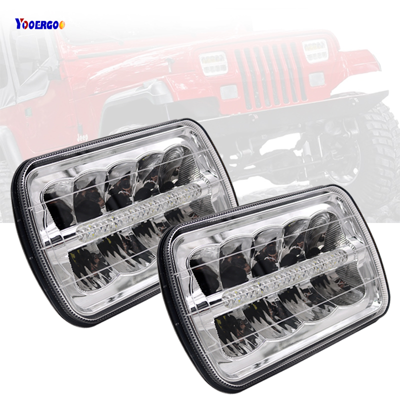 цены Square LED Headlight 7X6 5X7 HI-LO Beam Replacement Headlamps for Jeep Wrangler YJ Cherokee XJ Trucks 4x4 Led HeadLight