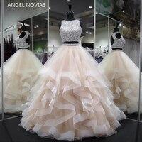 ANGEL NOVIAS Long Ball Gown Two Pieces Prom Dress 2018 Crystals Beads Keyhole Back vestido de formatura longo Party Dress