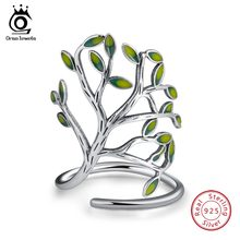 ORSA JEWELS Genuine 925 Sterling Silver Rings For Women Green Tree Of Life Enamel Adjustable Big Finger Ring Fine Jewelry OSR90(China)