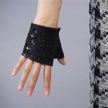 WomenS Leather Fingerless Gloves Black Snakeskin Animal Print Ultra-Thin Pure Sheepskin Half Finger Ultra Short TB90