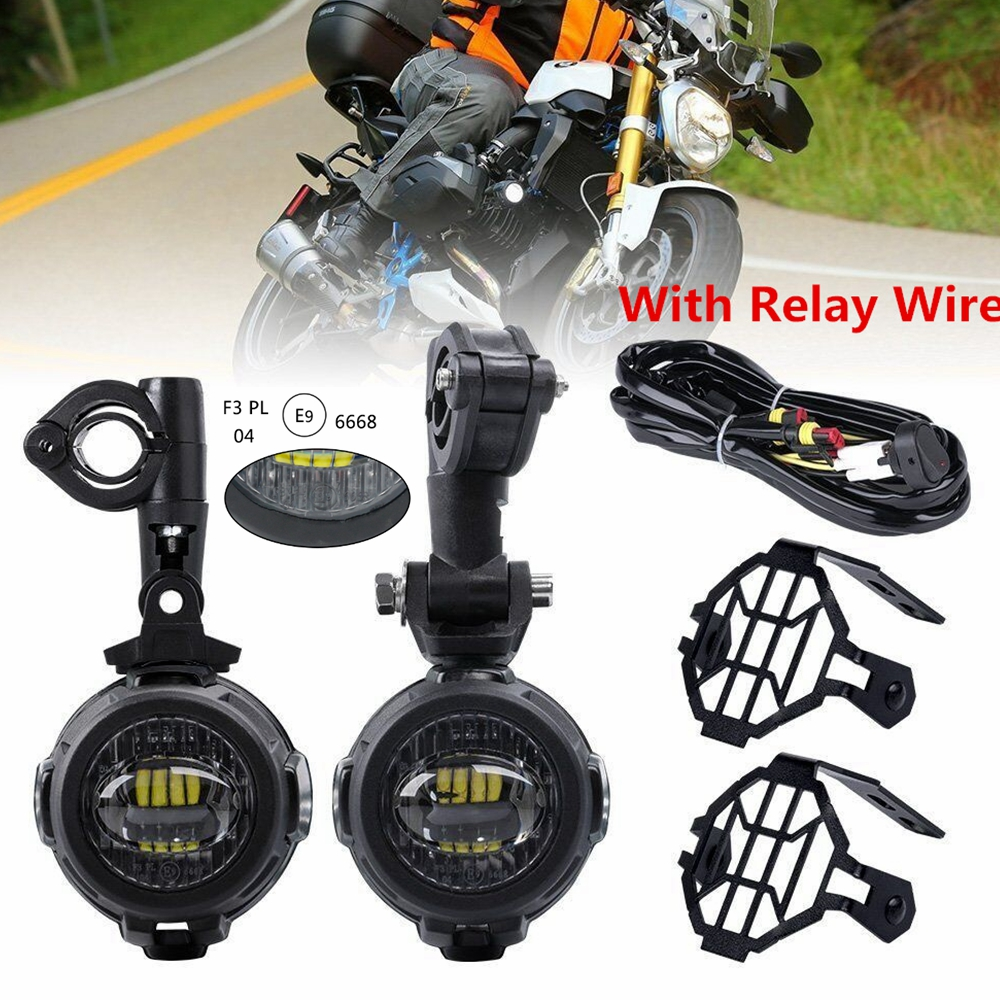 New 40w Motorcycle LED Auxiliary Fog Light Kits Spot Driving Lamps With Protect Guards Wiring Harness For BMW R1200GS F800GS