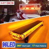 127cm 96W 96 LED Work Warning Lights Emergency Recovery Beacon Wrecker Flashing Strobe Light Bar For Truck Car Amber 12V/24V