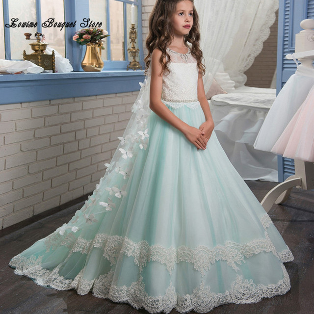 52c40653049 Pretty Sage A Line Long Flower Girl Dresses with Detachable Tulle Butterfly  Train High Quality Elegant Graduation Gowns Children