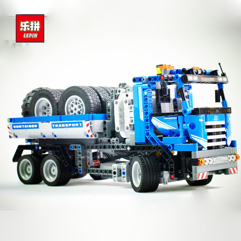 Lepin 20027 720Pcs Technic Mechnical Series The Container Truck Set Children Educational Building Blocks Bricks Toys Model 8052 lepin 22002 1518pcs the maersk cargo container ship set educational building blocks bricks model toys compatible legoed 10241