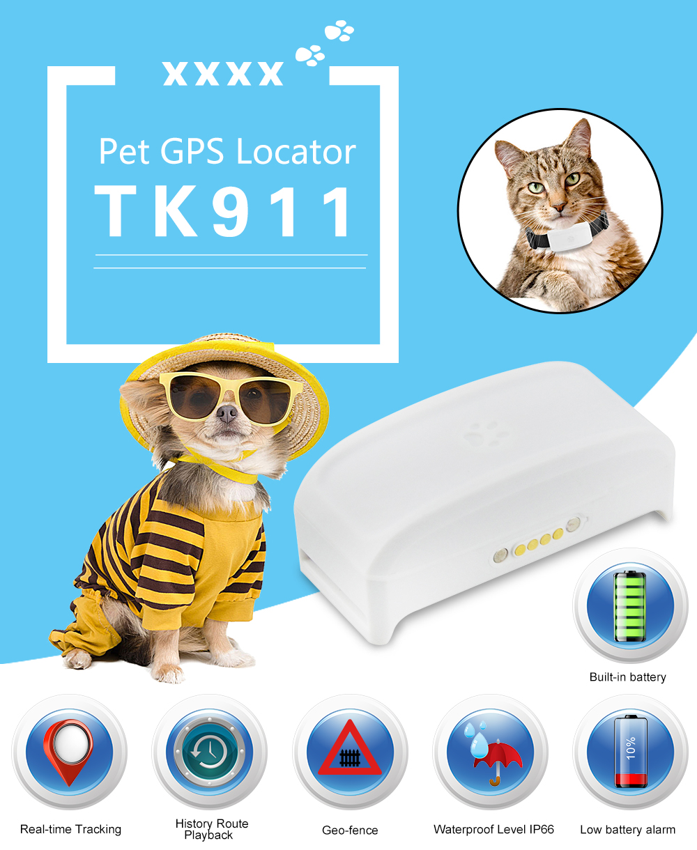 Easy operation Tracking locator Smart TK911 dog GPS Tracke Free APP Pet Tracking Device History route