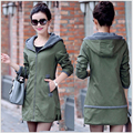 2015 New Autunm And Winter Women Trench Coat Slim Fashion Plus Medium-Long Windbreaker Patchwork OL Hooded Outwear