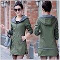 2015 Nova Outono E Inverno Das Mulheres Trincheira Casaco Fino Moda Plus Size Blusão de Médio-Longo Patchwork OL Outwear Com Capuz
