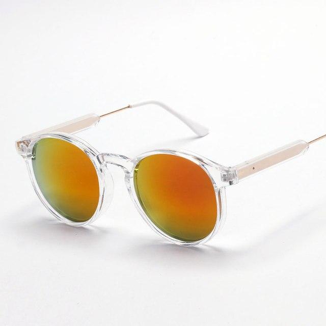 New vintage round clear frame sunglasses men gold purple rose mirror ...