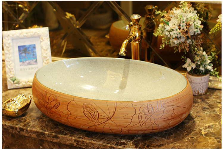 Imitation Stones Lotus Pattern Porcelain Bathroom Vanity Bathroom Sink Bowl Countertop Oval Ceramic Wash Basin Bathroom Sink In Bathroom Sinks From Home