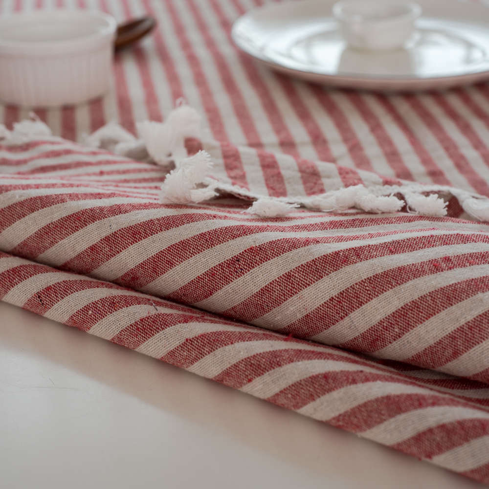 ESQUIRE Modern Linen Cotton Table Cloth Rectangular / Square Tassel Tablecloth Red Striped Dining Table Cover Home Outdoor Decor