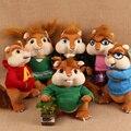 6 unids/lote Lindo 25 cm 35 cm Alvin y las Ardillas Simon/Theodore/Bretaña/Eleanor/Jeannette/Alvin muñeco de peluche de juguete modelo de regalo de los cabritos
