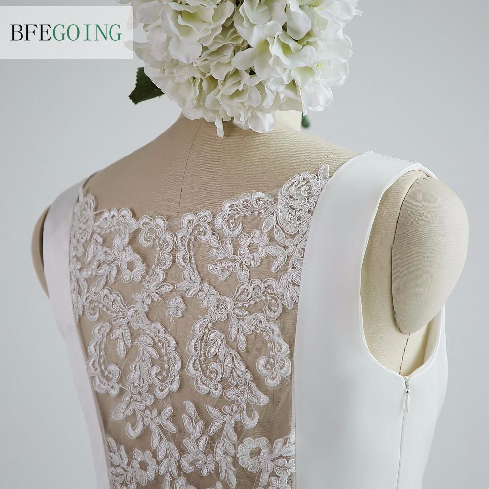 A-line Satin Boat Neck Wedding dress Floor-Length Chapel Train Sleeveless Beading Belt Real/Original Photos Custom made 5