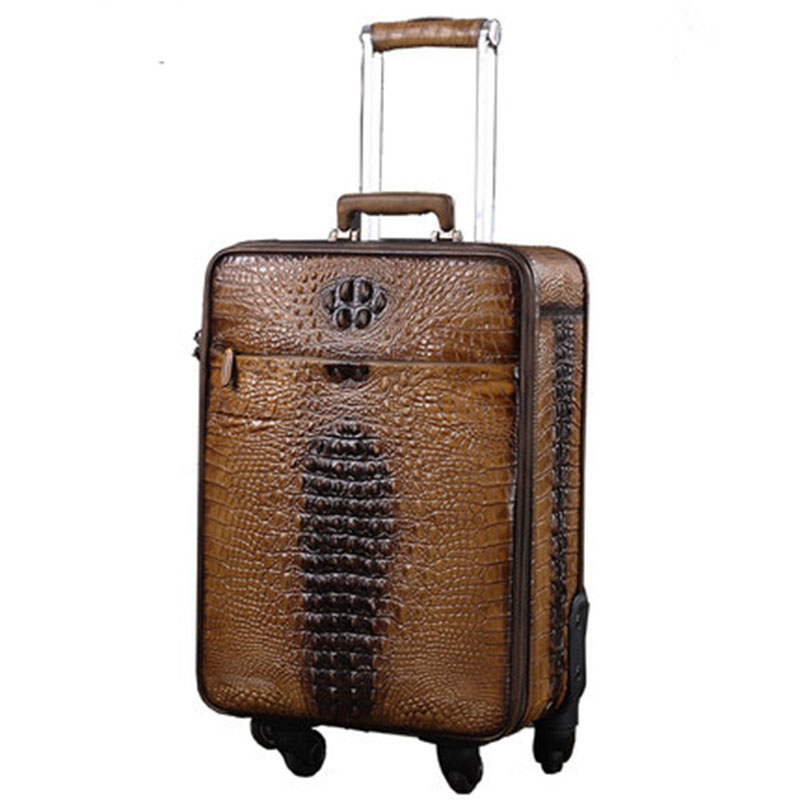 Letrend 100% Genuine Leather Spinner Suitcases Wheel Vintage Rolling Luggage Trolley 18 inch Business Carry on Travel Bag