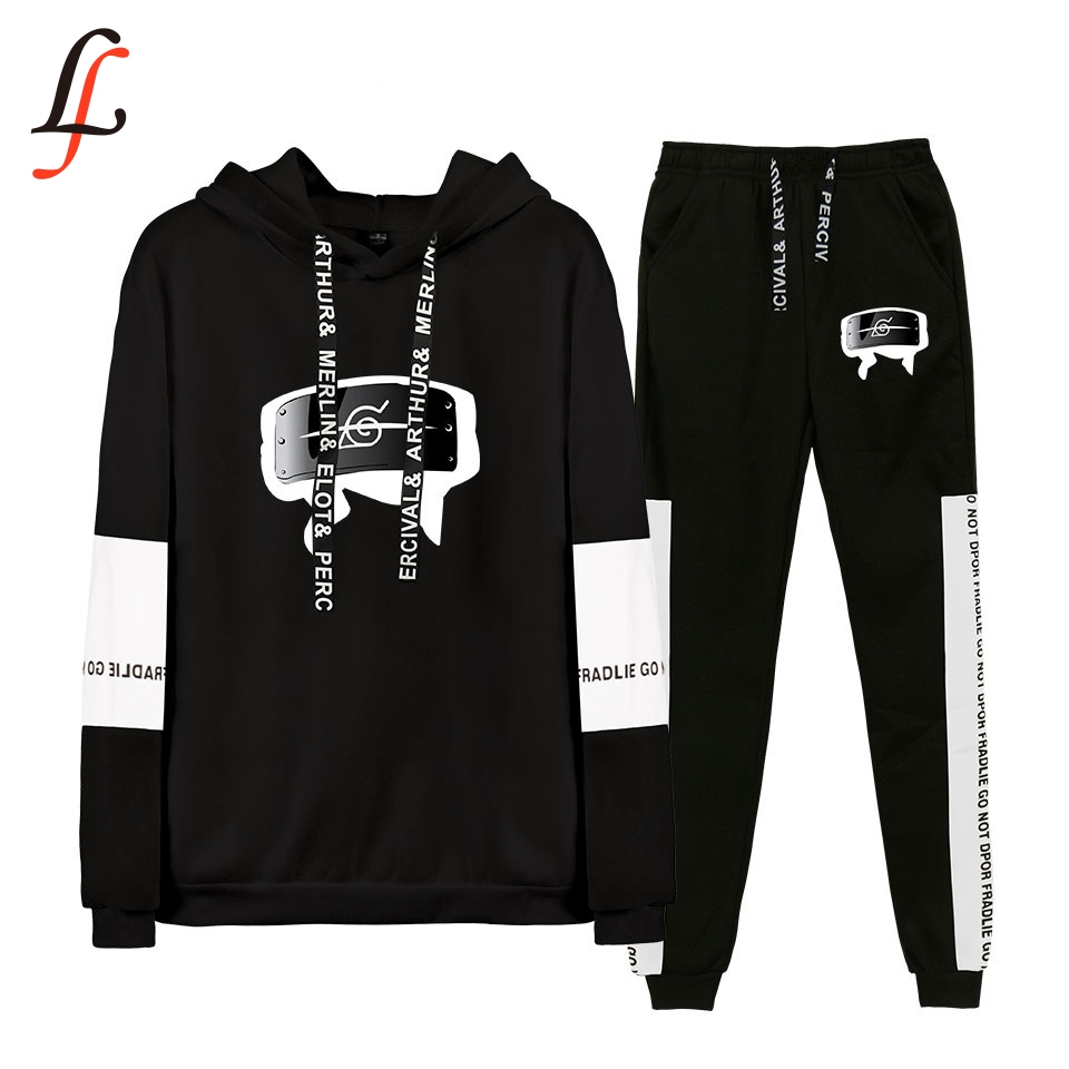 Naruto 2 Piece Set Women/Men Hip Hop Hoodies Sweatshirts Harajuku Unisex Fashion Cool Hooded Casual Sport Suit Hot Sale Clothes