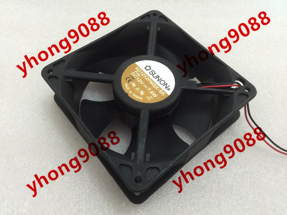 Free shipping For SUNON KD1212PMSX-6A DC 12V 7.6W 2-wire 2-Pin connector 70mm 120x120x38mm Server Square Cooling Fan free shipping for sunon eg50040v1 c06c s9a dc 5v 2 00w 8 wire 8 pin server laptop fan