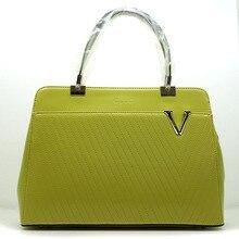 ผู้หญิงกระเป๋าถือกระเป๋าสะพายซิปแฟชั่นเครื่องหนังกระเป๋ากระเป๋าถนนVสีเขียว