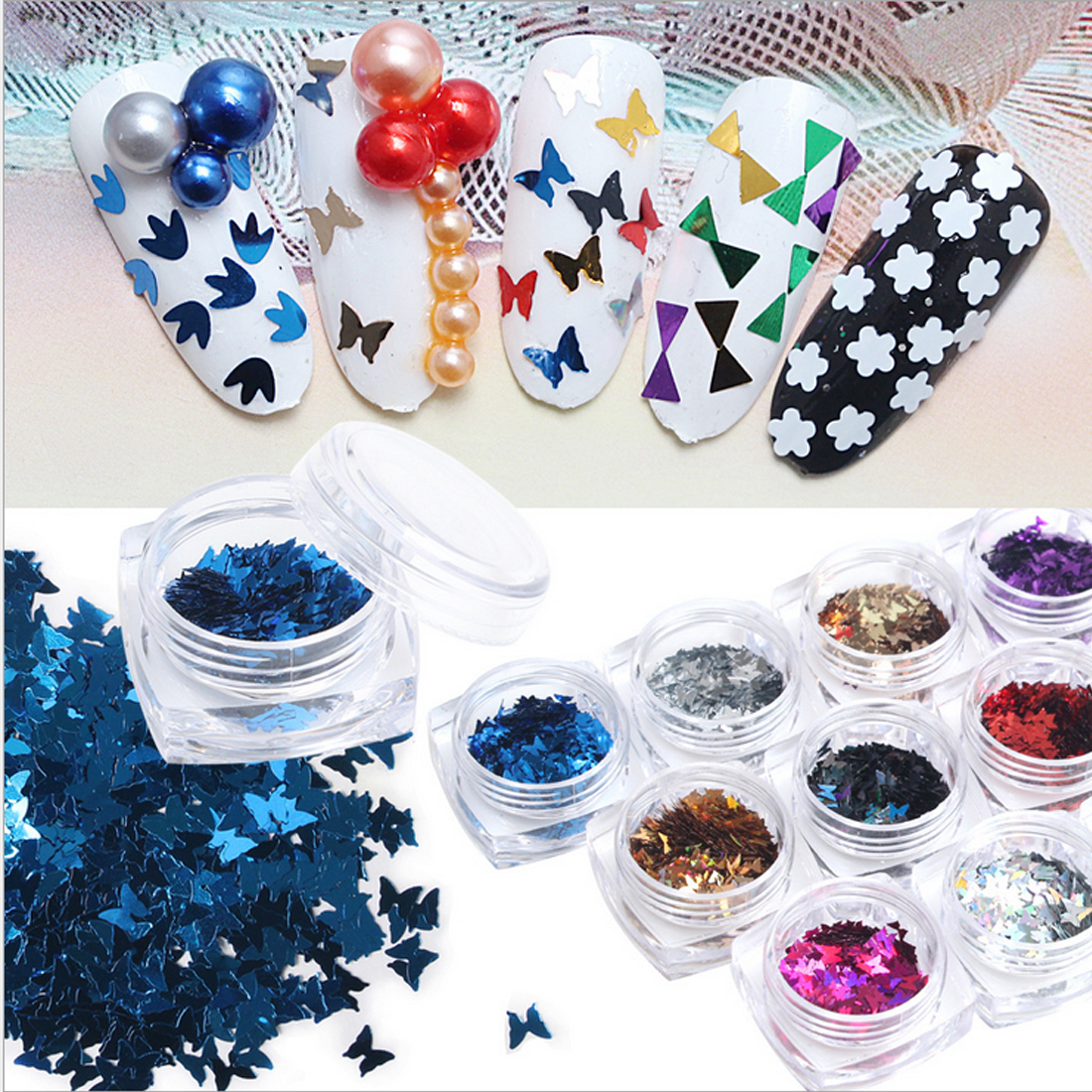 Nail Art Glitter Sequins Set Star Moon Heart Butterfly Round Triangle Ultrathin Tip Twin ...