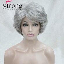 Короткий мягкий толстый волнистый многослойный серебристо серый полный синтетический парик женские парики