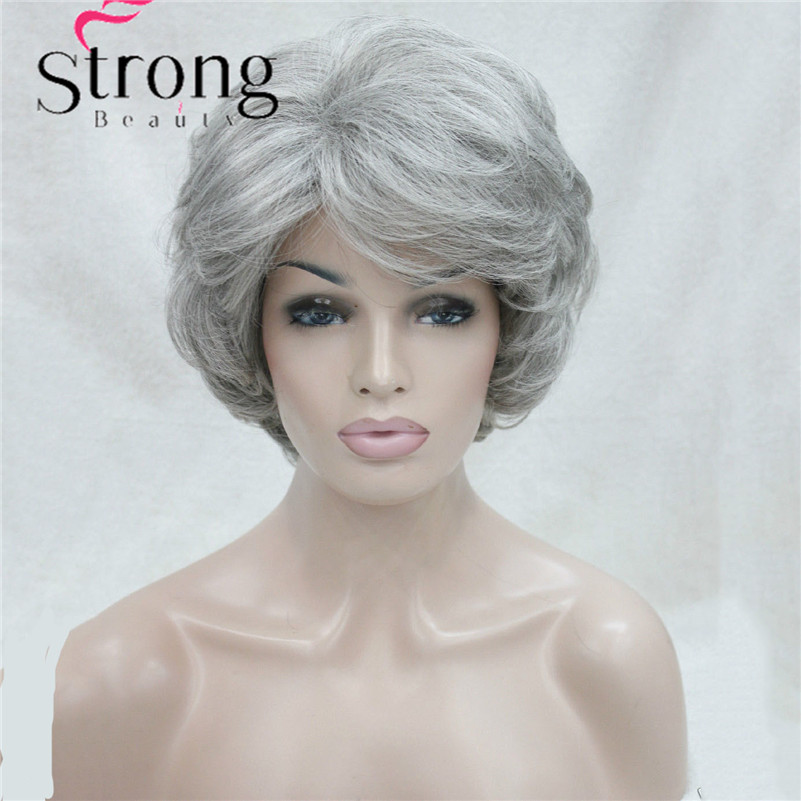 Short Soft Thick Wavy Layered Silver Grey Full Synthetic Wig Women's Wigs