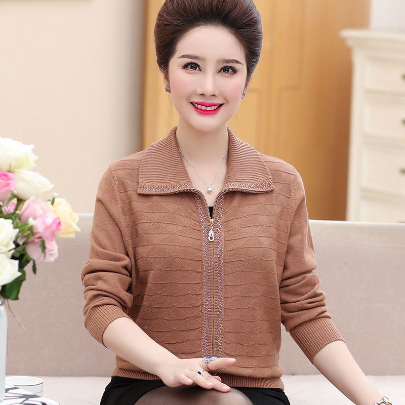 2019 middle aged women autumn coat 40 50 year old Mom autumn clothes cardigan sweater and