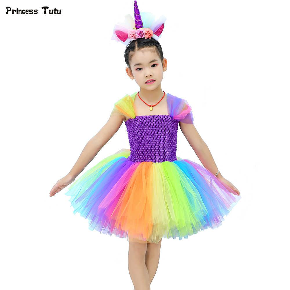 9f36b60ecc5 Красочные Rainbow Unicorn платье-пачка принцессы из тюля детское платье для дня  рождения для девочек