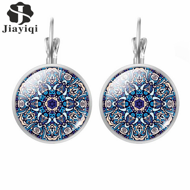 Jiayiqi 2017 New Vintage Mandala OM Hinduism Glass Jewelry Datura Flower Round Silver Stud Earrings For Women Best Gift